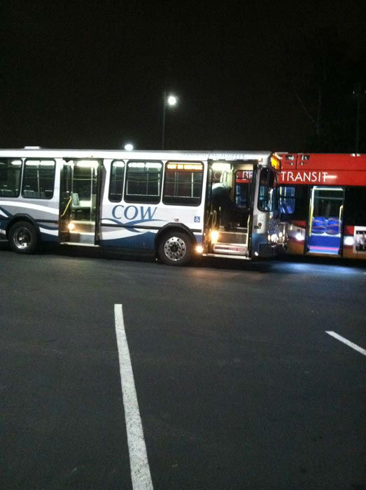 A Cerritos on Wheels bus and Long Beach Transit bus arrive at the &#39;Spark of Love Toy Drive&#39; at Los Cerritos Center  on Friday, Nov. 18, 2011. <span class=meta>(KABC Photo)</span>