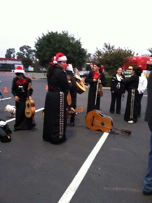 A mariachi band joins Garth the Elf at Los Cerritos Center on Nov. 18, 2011. <span class=meta>(KABC Photo)</span>