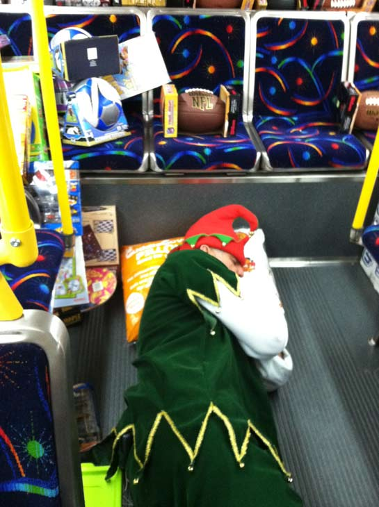 "<div class=""meta ""><span class=""caption-text "">Garth the Elf rests during the 'Spark of Love Toy Drive' at Mathis Brothers in Ontario on Friday, Dec. 2, 2011. (KABC Photo)</span></div>"