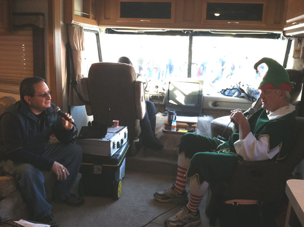 Garth the Elf talks to K-FROG at the &#39;Spark of Love Toy Drive&#39; at Mathis Brothers in Ontario on Friday, Dec. 2, 2011. <span class=meta>(KABC Photo)</span>