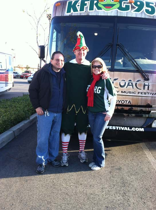 Garth the Elf poses with K-FROG DJs at the &#39;Spark of Love Toy Drive&#39; at Mathis Brothers in Ontario on Friday, Dec. 2, 2011. <span class=meta>(KABC Photo)</span>