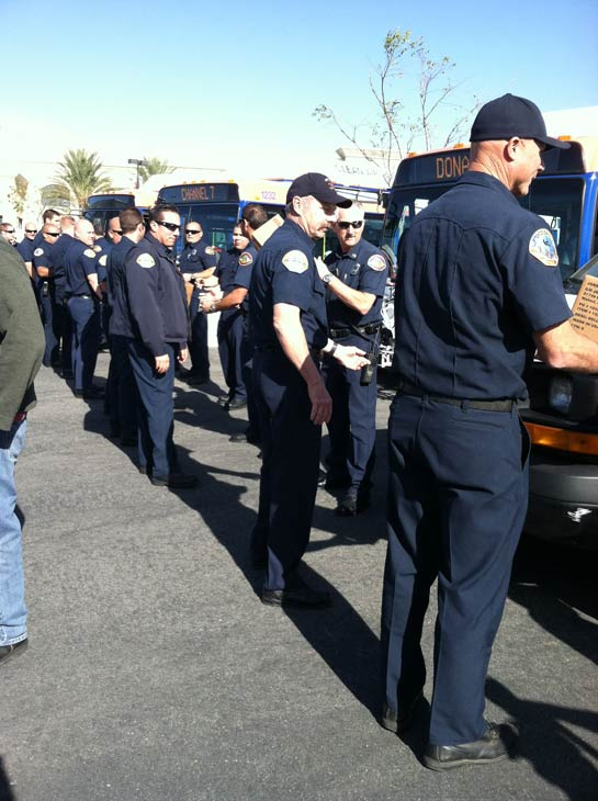 Firefighters help out at the &#39;Spark of Love Toy Drive&#39; at Mathis Brothers in Ontario on Friday, Dec. 2, 2011. <span class=meta>(KABC Photo)</span>