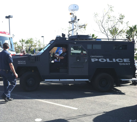 The Ontario Police Department&#39;s SWAT team stops by the &#39;Spark of Love Toy Drive&#39; at Mathis Brothers in Ontario on Friday, Dec. 2, 2011. <span class=meta>(KABC Photo)</span>