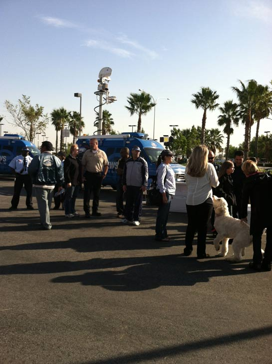 Local residents arrive at the &#39;Spark of Love Toy Drive&#39; at Mathis Brothers in Ontario on Friday, Dec. 2, 2011. <span class=meta>(KABC Photo)</span>