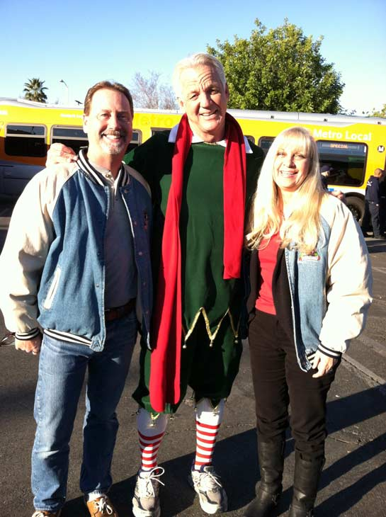 Garth the Elf poses with local residents at the &#39;Spark of Love Toy Drive&#39; at Westfield Topanga Mall in Canoga Park on Friday, Dec. 9, 2011. <span class=meta>(KABC Photo)</span>