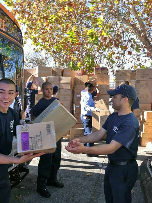 Check out all the boxes of toys that JAKKS Pacific donated at the &#39;Spark of Love Toy Drive&#39; Stuff-A-Bus event at Westfield Topanga Mall in Canoga Park on Friday, Dec. 9, 2011. <span class=meta>(KABC Photo)</span>