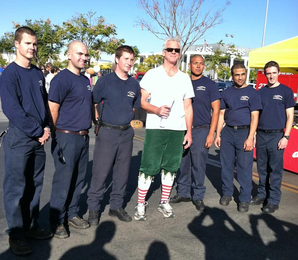Garth the Elf and some L.A. City Fire cadets at the &#39;Spark of Love Toy Drive&#39; Stuff-A-Bus event at Westfield Topanga Mall in Canoga Park on Friday, Dec. 9, 2011. <span class=meta>(KABC Photo)</span>
