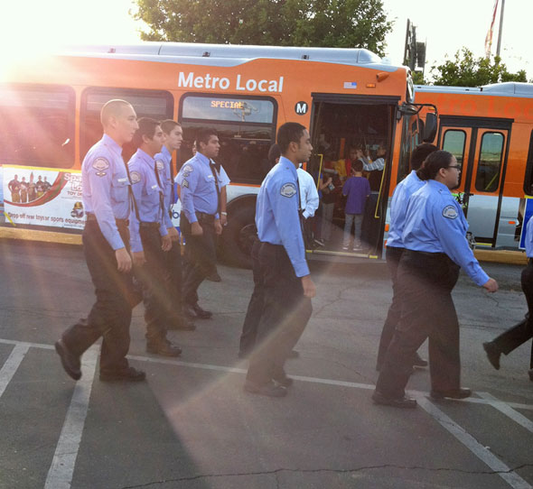 "<div class=""meta ""><span class=""caption-text "">Los Angeles police cadets arrive to help out at the 'Spark of Love Toy Drive' Stuff-A-Bus event at Westfield Topanga Mall in Canoga Park on Friday, Dec. 9, 2011. (KABC Photo)</span></div>"