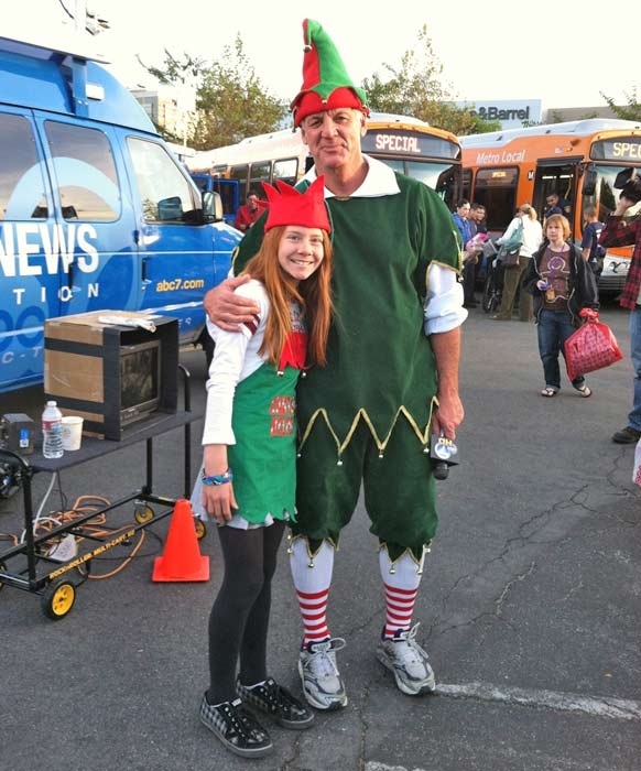 Garth the Elf poses with another little helper at the &#39;Spark of Love Toy Drive&#39; Stuff-A-Bus event at Westfield Topanga Mall in Canoga Park on Friday, Dec. 9, 2011. <span class=meta>(KABC Photo)</span>