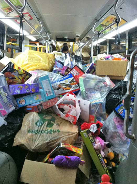 "<div class=""meta ""><span class=""caption-text "">Bus no. 5 filled at the Stuff-A-Bus event at Westfield Topanga Mall in Canoga Park on Friday, Dec. 9, 2011.  Thank you everyone for your generous donations and helping us set a new record at our Los Angeles event. (KABC Photo)</span></div>"