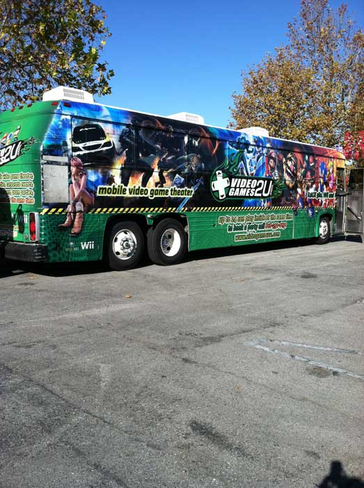 "<div class=""meta ""><span class=""caption-text "">The VideoGames2u.com bus arrives at the 'Spark of Love Toy Drive' Stuff-A-Bus event at Westfield Topanga Mall in Canoga Park on Friday, Dec. 9, 2011. (KABC Photo)</span></div>"