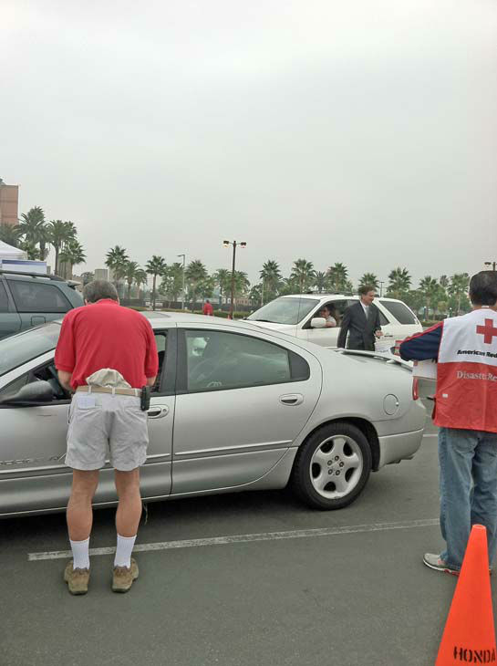 ABC7 Eyewitness News consumer specialist Ric Romero collects donations from viewers at our Sandy relief drive at the Honda Center in Anaheim on Thursday, Nov. 1, 2012. <span class=meta>(KABC)</span>