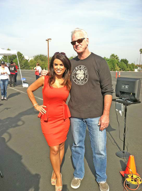 ABC7 Eyewitness News weathercaster Garth Kemp and traffic reporter Alysha Del Valle at our Sandy relief drive at the Honda Center in Anaheim on Thursday, Nov. 1, 2012. <span class=meta>(KABC)</span>