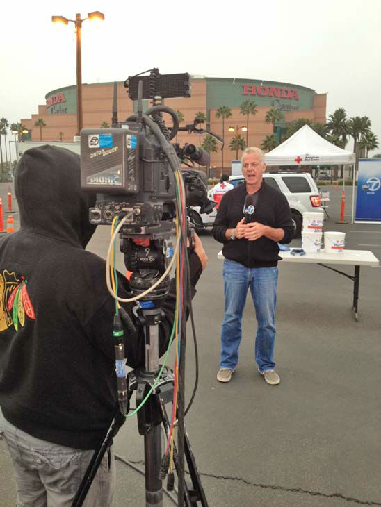 ABC7 Eyewitness News weathercaster Garth Kemp at our Sandy relief drive at the Honda Center in Anaheim on Thursday, Nov. 1, 2012. <span class=meta>(KABC)</span>