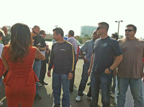 ABC7 Eyewitness News traffic reporter Alysha Del Valle and the Orange County Sheriff&#39;s Basic Supervision Class for Sergeants at the ABC7 Sandy relief drive at the Honda Center in Anaheim on Thursday, Nov. 1, 2012. <span class=meta>(KABC)</span>
