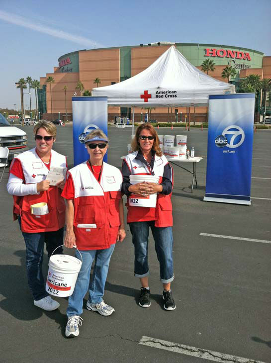 American Red Cross volunteers at ABC7&#39;s Sandy relief drive at the Honda Center in Anaheim on Thursday, Nov. 1, 2012. <span class=meta>(KABC)</span>