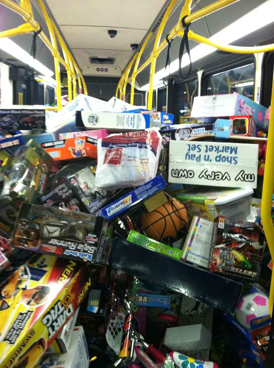 Bus #5 stuffed! The fifth bus was packed full of toys by 5 p.m. at the Stuff-A-Bus toy drive at Mathis Brothers Furniture in Ontario on Friday, Nov. 30, 2012. <span class=meta>(KABC)</span>