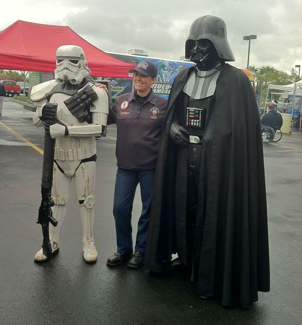 Darth Vadar has arrived at the Stuff-A-Bus toy drive at Mathis Brothers Furniture in Ontario on Friday, Nov. 30, 2012.  <span class=meta>(KABC)</span>