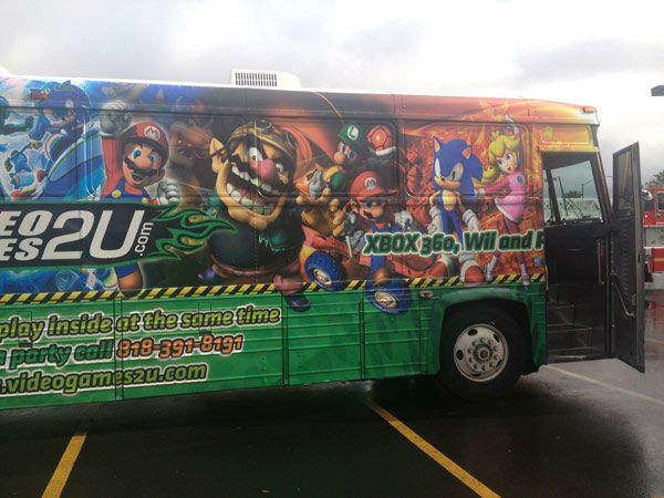 The VideoGames2U.com bus arrives at the Stuff-A-Bus event at Mathis Brothers Furniture in Ontario on Friday, Nov. 30, 2012. <span class=meta>(KABC)</span>