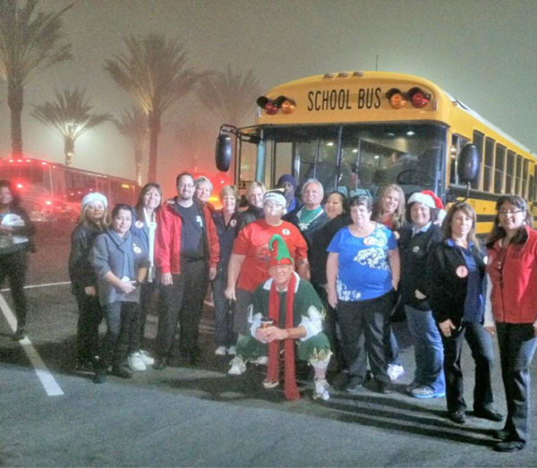Garth the Elf and ABC Unified at the Stuff-A-Bus toy drive at Los Cerritos Center in Cerritos on Friday, Dec. 7, 2012. <span class=meta>(KABC Photo)</span>