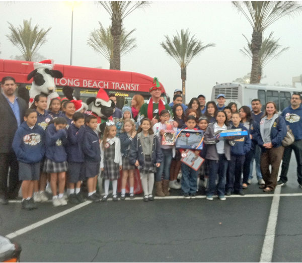 A big crowd came out to support Garth the Elf at the Stuff-A-Bus toy drive at Los Cerritos Center in Cerritos on Friday, Dec. 7, 2012. <span class=meta>(KABC Photo)</span>
