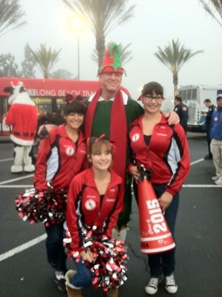Ladies from Artesia High School came out to support Garth the Elf at the Stuff-A-Bus toy drive at Los Cerritos Center in Cerritos on Friday, Dec. 7, 2012. <span class=meta>(KABC Photo)</span>