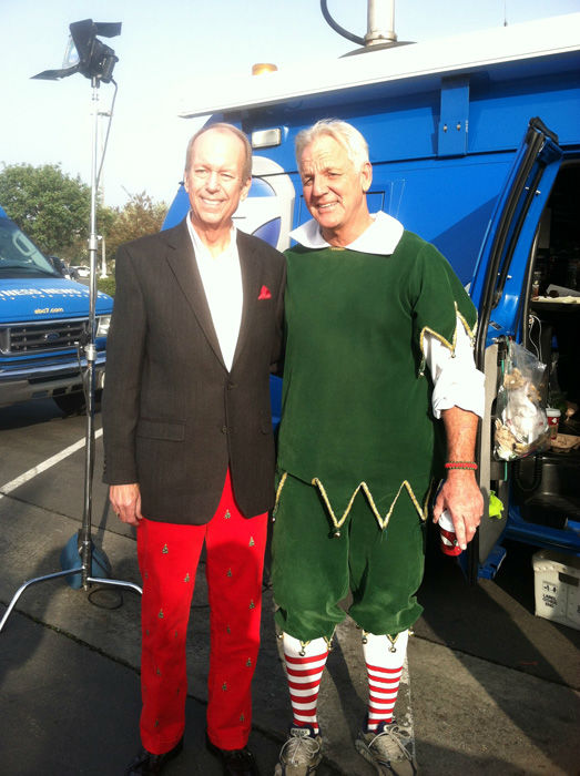 Nothing like kindling the fire of hospitality in red festive Christmas tree pants, Tom of Seal Beach came out to support the Stuff-A-Bus toy drive at Los Cerritos Center in Cerritos on Friday, Dec. 7, 2012. <span class=meta>(KABC Photo)</span>