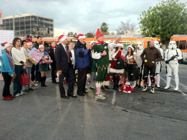 Generous donors came out to support Garth the Elf at the Stuff-A-Bus toy drive at the Westfield Topanga mall at Canoga Park on Friday, Dec. 14, 2012. <span class=meta>(KABC Photo)</span>
