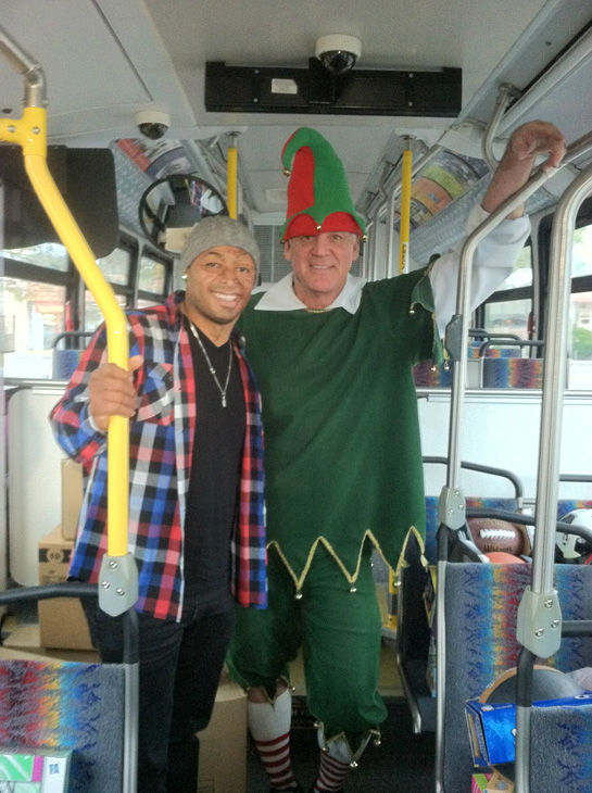J.R. Martinez came out to support Garth the Elf at the Stuff-A-Bus toy drive at the Westfield Topanga mall at Canoga Park on Friday, Dec. 14, 2012. <span class=meta>(KABC Photo)</span>