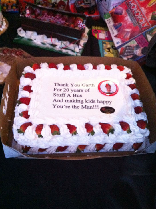 Thank you to Garth the Elf for his many contributions during this holiday season! The cake was devoured at the Stuff-A-Bus toy drive at the Honda Center in Anaheim on Friday, Dec. 21, 2012. <span class=meta>(KABC Photo)</span>