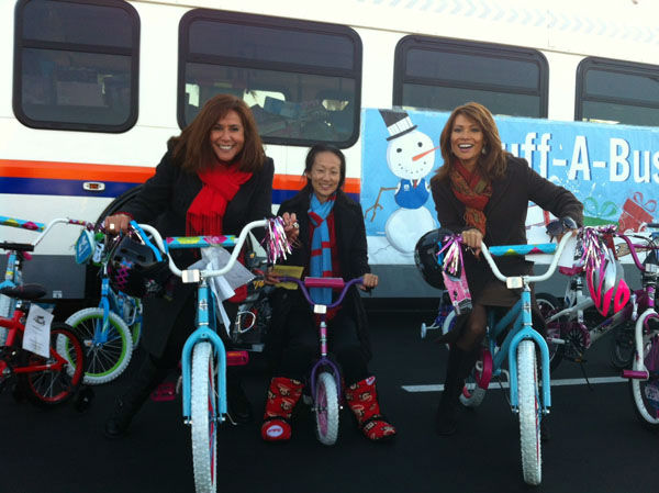 ABC7&#39;s very own Eileen Frere visits the Stuff-A-Bus toy drive at the Honda Center in Anaheim on Friday, Dec. 21, 2012. <span class=meta>(KABC Photo)</span>