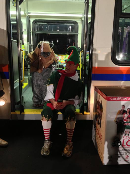 Garth the Elf and an Ewok are seen at the Stuff-A-Bus toy drive at the Honda Center in Anaheim on Friday, Dec. 21, 2012. <span class=meta>(KABC Photo)</span>