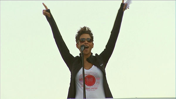 Actress Halle Berry speaks during the opening ceremony at the Entertainment Industry Foundation Revlon Run&#47;Walk for Women in Exposition Park on Saturday, May 11, 2013. <span class=meta>(KABC Photo)</span>