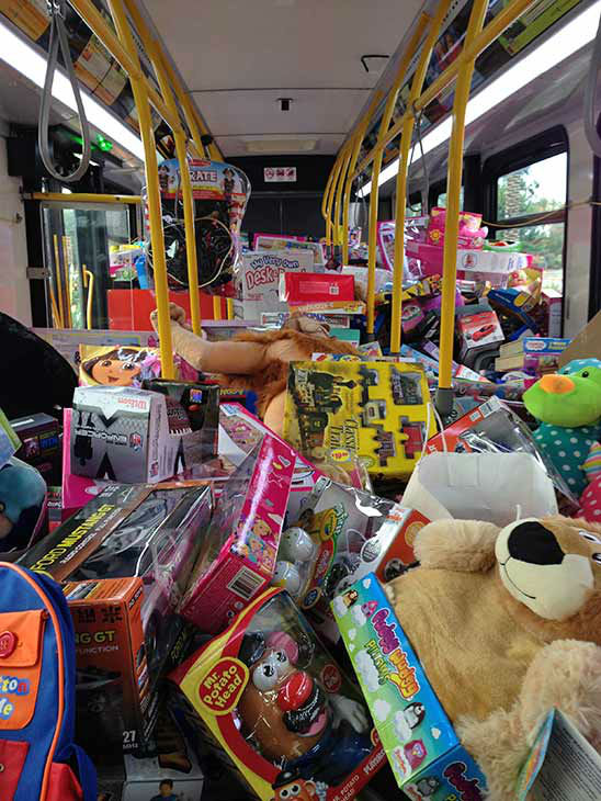 Our first bus is stuffed full of toys for underprivileged children, moving on to bus no. 2. at our first Stuff-A-Bus event of 2013 at Los Cerritos Center on Friday, Nov. 22, 2013. <span class=meta>(KABC Photo)</span>