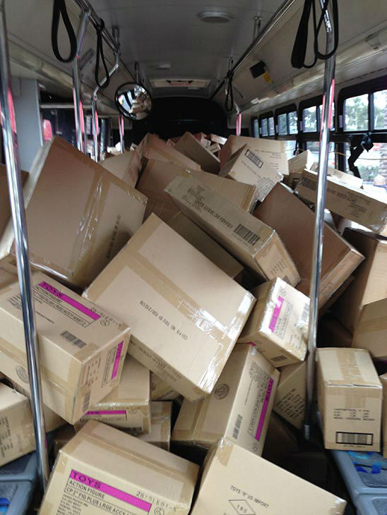 Wow, bus no. 2 was full by 11 a.m. at our first Stuff-A-Bus event of 2013 at Los Cerritos Center on Friday, Nov. 22, 2013. Thanks everyone for all the amazing donations! <span class=meta>(KABC Photo)</span>