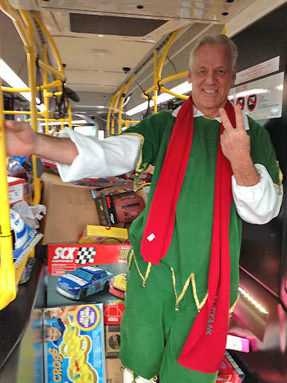 Garth the Elf stands inside stuffed bus No. 2 in Ontario on Friday, Dec. 6, 2013. <span class=meta>(KABC Photo)</span>