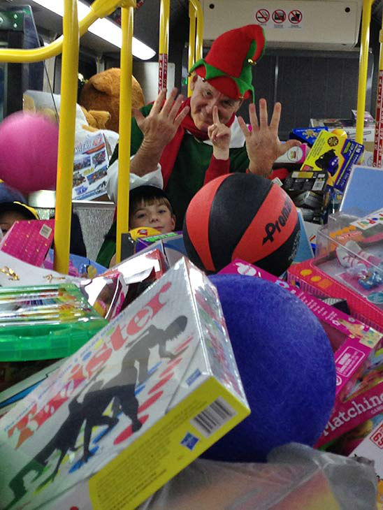"<div class=""meta ""><span class=""caption-text "">Wow! Thanks everyone who helped us stuff a record 11 buses at our Spark of Love toy drive event at Mathis Brothers in Ontario on Friday, Dec. 6, 2013. (KABC Photo)</span></div>"