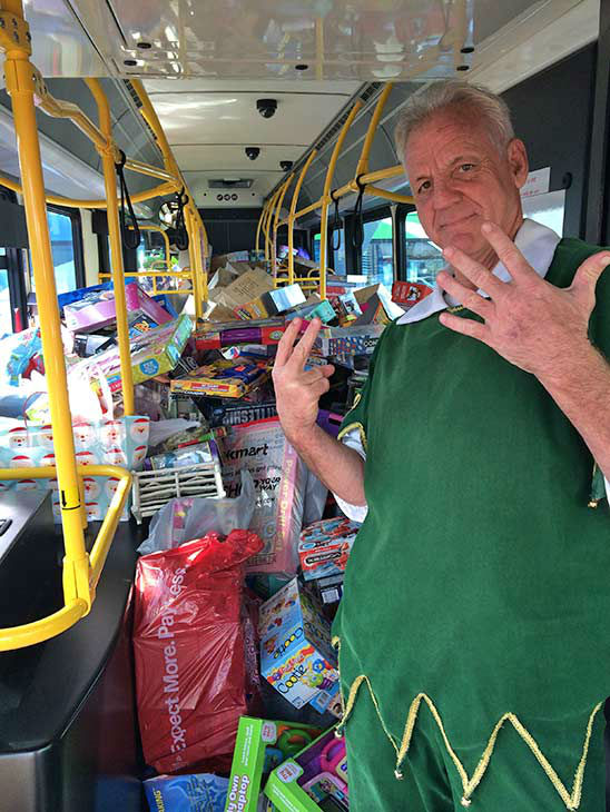 Check it out! Seven buses stuffed at our Spark of Love toy drive event at Mathis Brothers in Ontario on Friday, Dec. 6, 2013. <span class=meta>(KABC Photo)</span>
