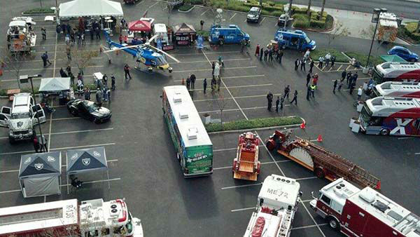 Check out th is aerial view of our Stuff-A-Bus event at Mathis Brothers in Ontario on Friday, Dec. 6, 2013. <span class=meta>(KABC Photo)</span>