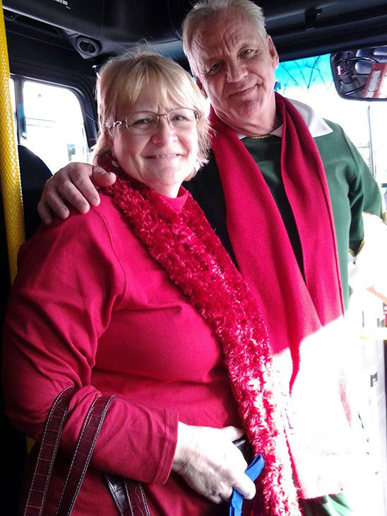 "<div class=""meta ""><span class=""caption-text "">Garth the Elf poses with Sally Jenkins at our Stuff-A-Bus event at Mathis Brothers in Ontario on Friday, Dec. 6, 2013. (KABC Photo)</span></div>"