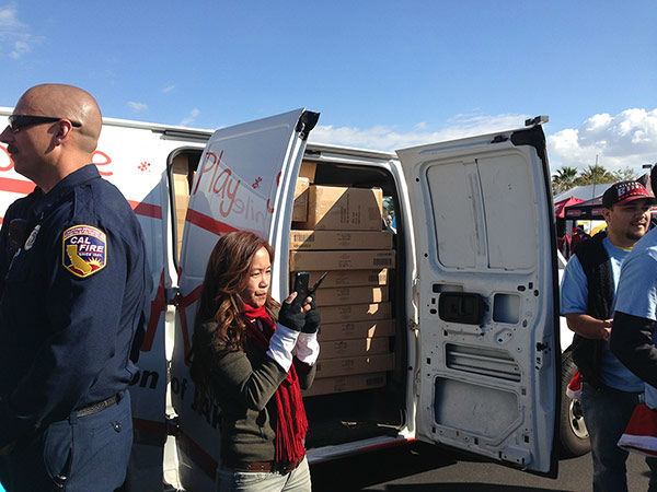 Our friends at JAKKS Pacific dropping off another load of toys at our Stuff-A-Bus event at Mathis Brothers in Ontario on Friday, Dec. 6, 2013. <span class=meta>(KABC Photo)</span>