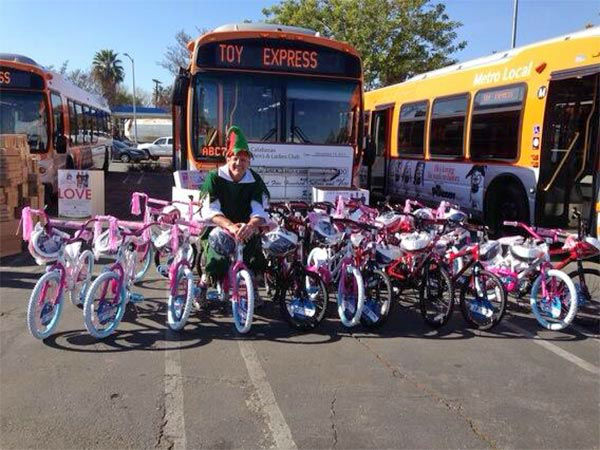 Thanks to Alfredo Rosales who came out and donated dozens of bikes at our Stuff-A-Bus event at Westfield Topanga mall in Canoga Park on Friday, Dec. 13, 2013. <span class=meta>(KABC Photo)</span>