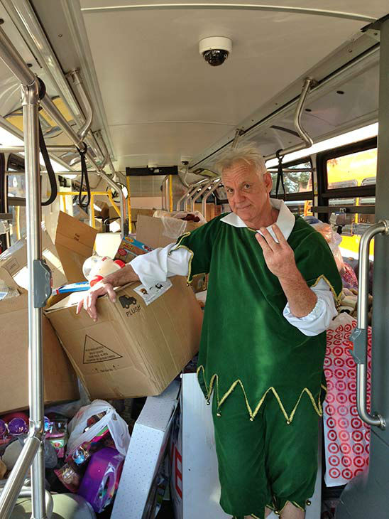 Three buses stuffed at our Spark of Love toy drive event at Westfield Topanga mall in Canoga Park on Friday, Dec. 13, 2013. <span class=meta>(KABC Photo)</span>