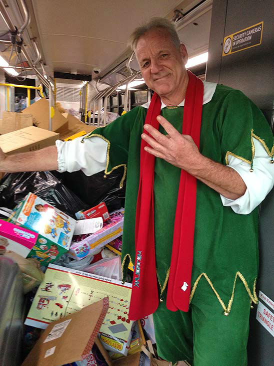 Four buses stuffed at our Spark of Love toy drive event at Westfield Topanga mall in Canoga Park on Friday, Dec. 13, 2013. <span class=meta>(KABC Photo)</span>