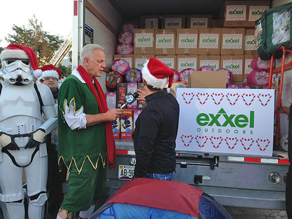 Thanks Exxel Outdoors for the generous toy donation at our Stuff-A-Bus event at Westfield Topanga mall in Canoga Park on Friday, Dec. 13, 2013. <span class=meta>(KABC Photo)</span>