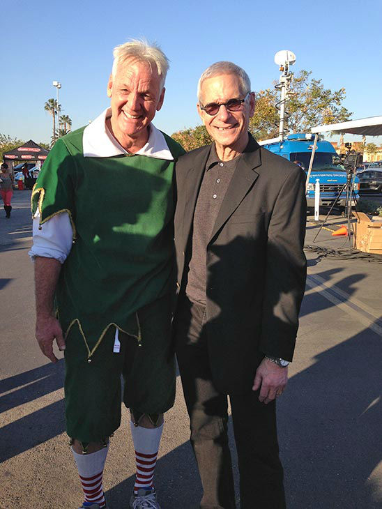 Garth the Elf with ABC7 President and General Manager Arnold Kleiner at our Stuff-A-Bus event at Westfield Topanga mall in Canoga Park on Friday, Dec .13, 2013. <span class=meta>(KABC Photo)</span>