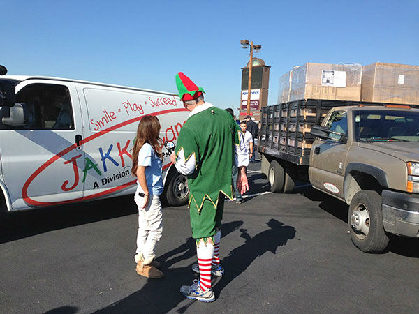 JAKKS Pacific brings another hefty donation to our final Stuff-A-Bus event of the year at the Honda Center in Anaheim on Friday, Dec. 20, 2013. Thanks JAKKS! <span class=meta>(KABC Photo)</span>