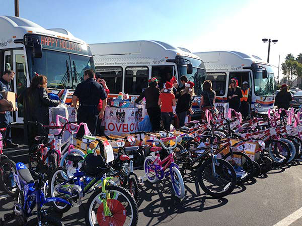 Thanks to Pancho&#39;s Mexican Restaurant and Catering in Orange for the large donation of children&#39;s bikes &#40;50 in all!&#41; at our Stuff-A-Bus event at the Honda Center in Orange on Friday, Dec. 20, 2013. <span class=meta>(KABC Photo)</span>