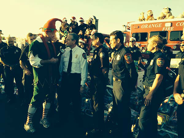 Orange County Fire Chiefs Association visits our Spark of Love toy drive at the Honda Center in Anaheim on Friday, Dec. 20, 2013. <span class=meta>(KABC Photo)</span>