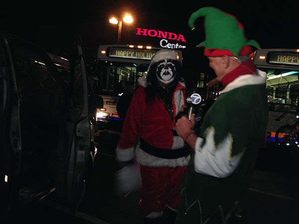 Santa Fifi Larue visits our Spark of Love toy drive at the Honda Center in Anaheim on